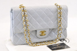 CHANEL Lamb Skin Matelasse Shoulder Bag Light Blue CC Auth sa1453 - $2,680.00