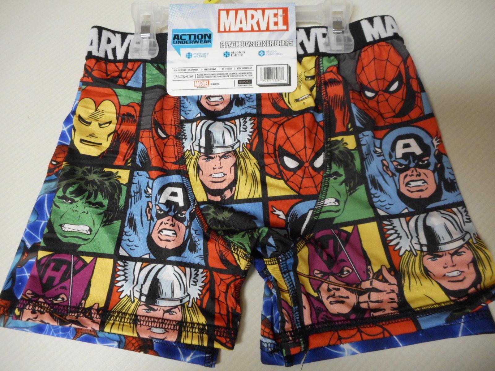 Boys Marvel Underwear Boxer Briefs 2 Pack Size Medium 8  NEW