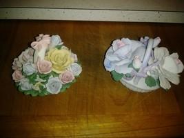 """Set Of 2 Porcelain Flower Baskets 3"""" x 4"""" - $13.99"""