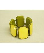 Vintage Chunky Bangle Stretch Cuff Bracelet yellow green Ladies Costume ... - $14.25