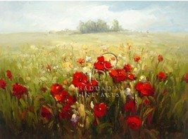 Iris & Poppies by David Lockwood European Tuscan Poppies Landscape Canvas Giclee - $345.51