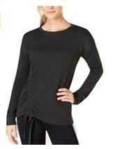 Ideology Women's Asymmetrical Ruched Top Drawstring Side Sweatshirt Dark... - $49.50