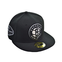 New Era New York Brooklyn Nets 2012 NBA Men's Fitted Hat Cap Black-White - €32,35 EUR