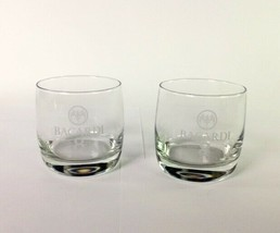 Bacardi 8 Etched High Ball Clear Glasses Set of 2 with Bat Logo - $14.80