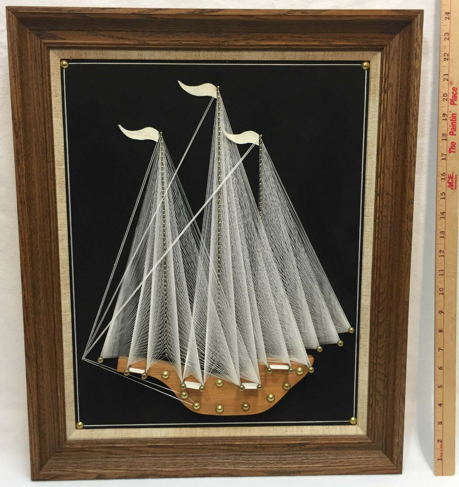 "Sailboat String Art Wall Hanging Picture Framed White Black 24"" Boat Ship 3 Mast"