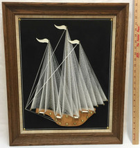 "Sailboat String Art Wall Hanging Picture Framed White Black 24"" Boat Shi... - $59.35"