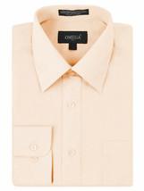 Omega Italy Men's Long Sleeve Button Up Light Orange Regular Fit Dress Shirt 4XL