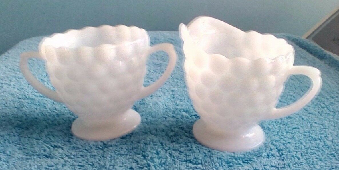 Jeannette Cubic Bubbles Milk Glass Matching Creamer And Sugar