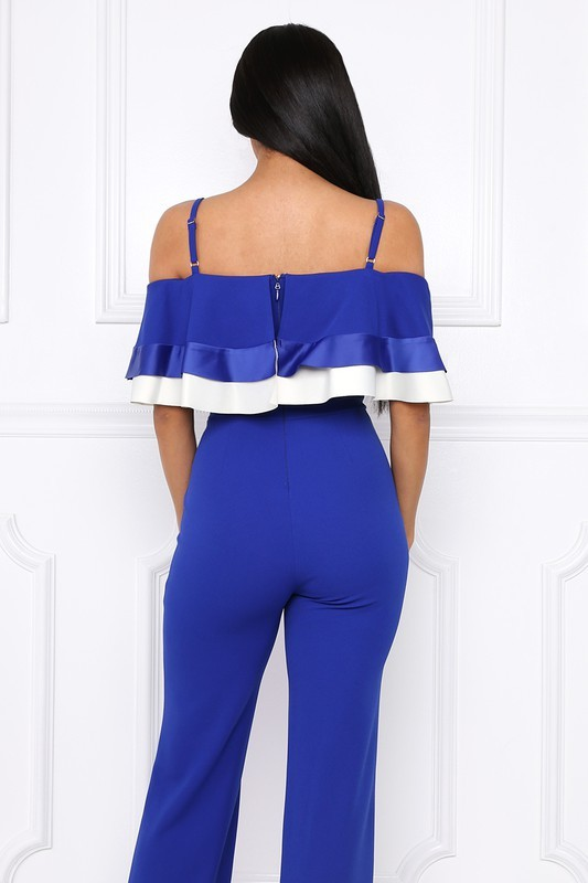 Image 2 of Flirty Royal Blue Party Jumpsuit, Off Shoulder, Ruffled Bodice, S, M or L