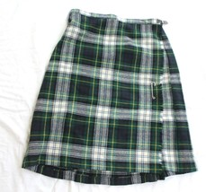 "Vintage Scottish Green Wool Tartan Plaid Wool Ireland Kilt Skirt Size L 32"" - $29.70"