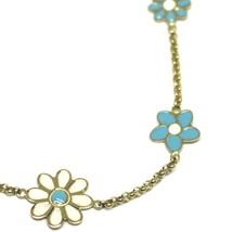 """18K YELLOW GOLD GIRL BRACELET ENAMEL WHITE & BLUE FLOWERS DAISY, 6.3"""", 16cm image 2"""
