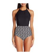 Coco Rave Magen Colorblocked High-Neck One-Piece Swimsuit Black Small - $45.54
