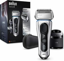 Braun series 8 8370 cc mens electric shaver cleaning station silver case - $639.85