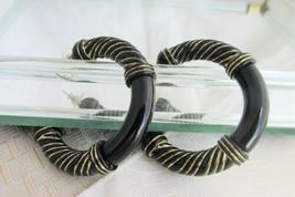 "Black Lucite Hoop Earrings Pierced Golden Enamel Accent 2.25"" Bold Chunky - $13.50"