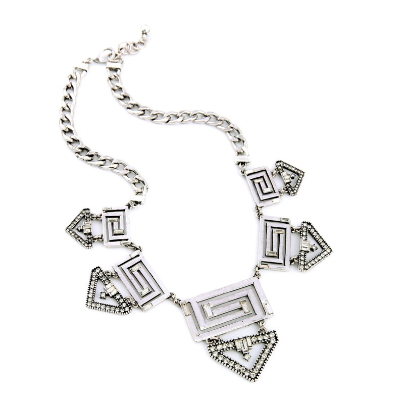 Concise Style Geometric Hollow Out Silver Color Maxi Necklace Pendant Necklace