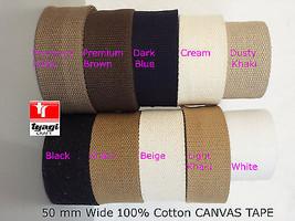 50mm Heavy Canvas 100% Cotton Thick Webbing Tape Bag Belt Yoga DIY Harne... - $4.89+