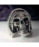 Sterling Silver Skull Hear no Evil Biker Ring Custom Size Occult Voodoo ... - $109.99