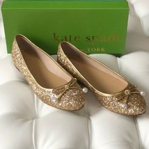 Kate Spade Ellio Gold Ballet Flats with Beaded Bow - $129.00