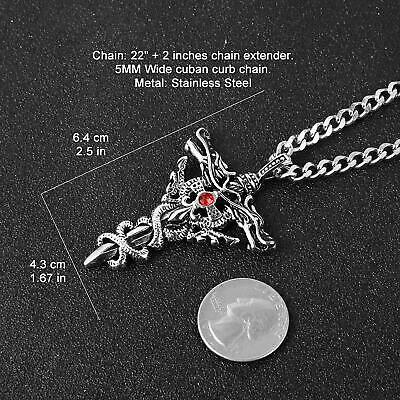 HZMAN Punk Stainless Steel Dragon Sword Wing Ruby Inlay Cross Pendant Necklaces