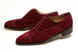 Men's Handmade Maroon Color Oxford Cap Toe Suede Leather Lace up Formal Shoes - $144.99+