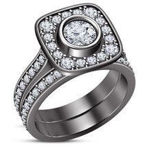 Unique Bridal Ring Set For Womens Black Gold Fn Solid Silver Round White... - $95.00