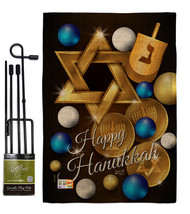 Happy Hanukkah Burlap - Impressions Decorative Metal Garden Pole Flag Se... - $33.97
