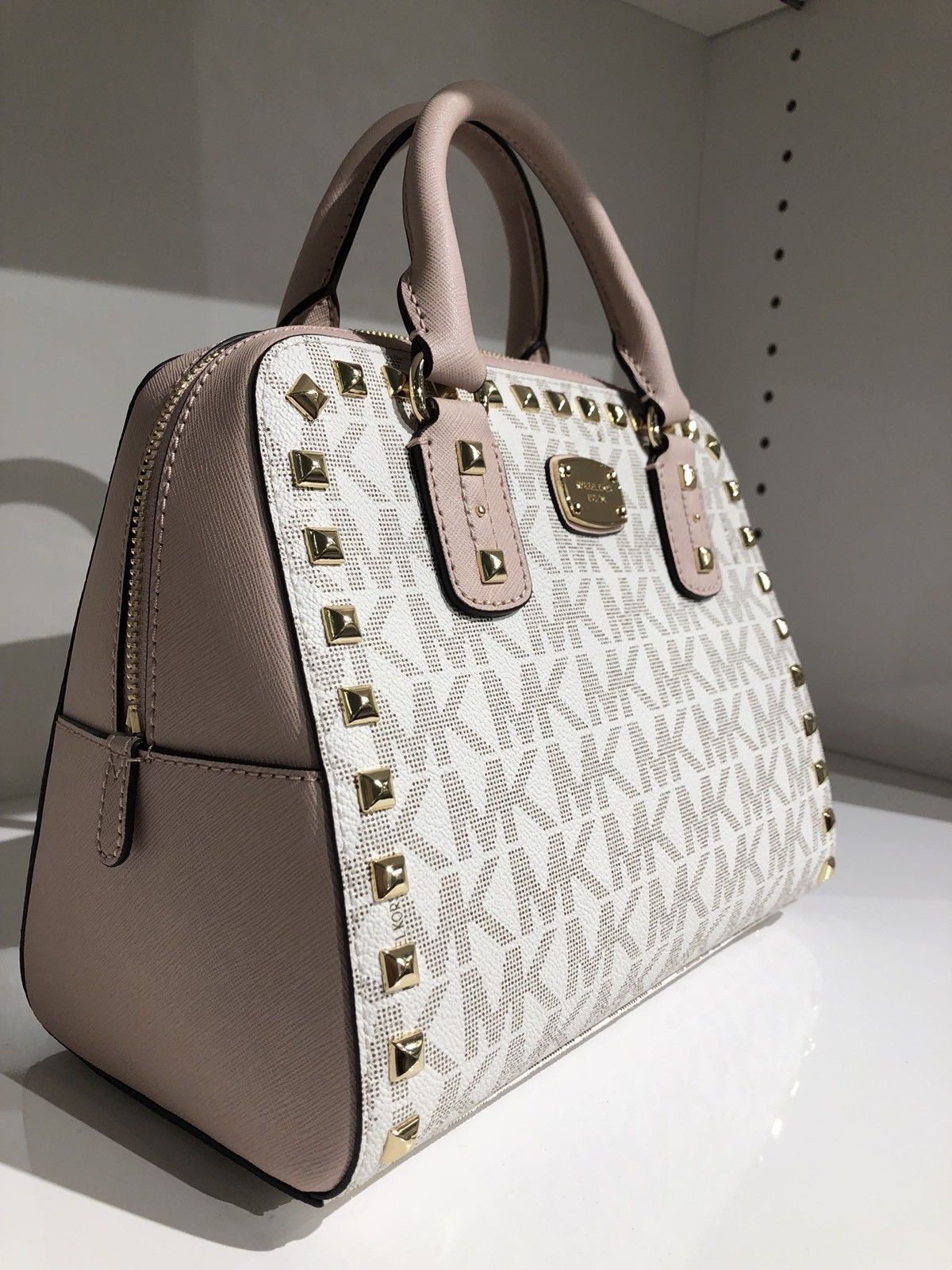 a02889139f73 NWT MICHAEL KORS $498 SANDRINE Stud SM Satchel Bag In VANILLA/BALLET PVC  Leather