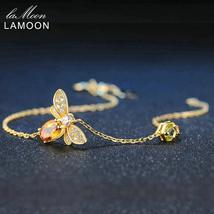 LAMOON Cute Bee 925 Sterling Silver Bracelet Woman love Citrine Gemstones Jewelr - $21.38