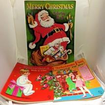 3 Vintage Christmas Coloring Books Things To Do Whitman Saalfield Unused... - $24.75
