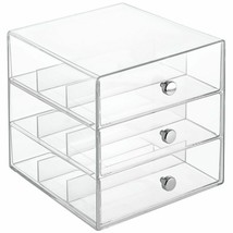 Transparent Jewelry Make Up Bathroom Organizer Stackable 3-Drawer Glasse... - $35.64