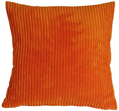 Pillow Decor - Wide Wale Corduroy 22x22 Dark Orange Throw Pillow