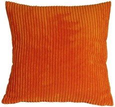 Pillow Decor - Wide Wale Corduroy 22x22 Dark Orange Throw Pillow - $44.95