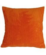 Pillow Decor - Wide Wale Corduroy 22x22 Dark Orange Throw Pillow - $44.95