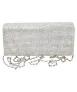 Silver Clear Rhinestone Crystal Clutch Evening Bag - $32.99