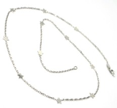 18K WHITE GOLD NECKLACE WITH FLAT STARS, SQUARE CABLE ROLO CHAIN, 16.5 INCHES image 2