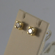SOLID 18K YELLOW GOLD EARRINGS, ZIRCONIA, WIDTH 0.16 INCHES, MADE IN ITALY image 2