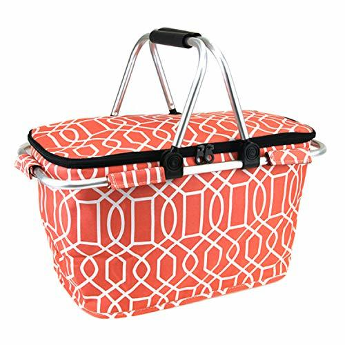 scarlettsbags Geometric Print Metal Frame Insulated Market Tote Coral