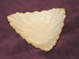 Lenox Triangle Embossed Candy Nut Dish with 24 K Gold Trim - $9.49