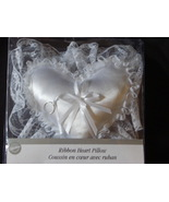 Bridal Ring Pillow Wilton Wedding Day Accessories White Satin Lace Heart... - $10.00