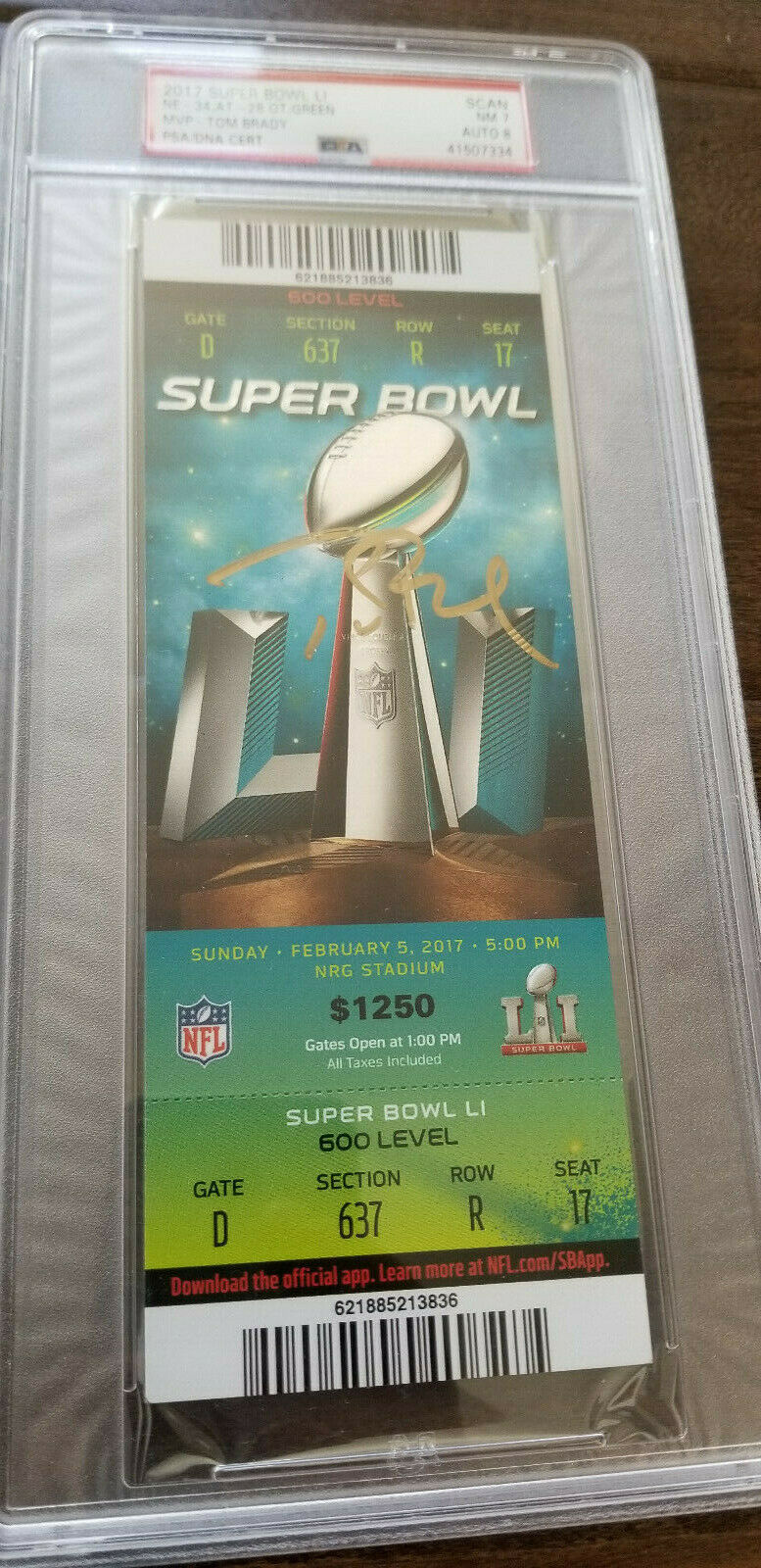 Primary image for Super Bowl L1 51 FULL TICKET PATRIOTS Falcons Signed Auto Tom Brady PSA/