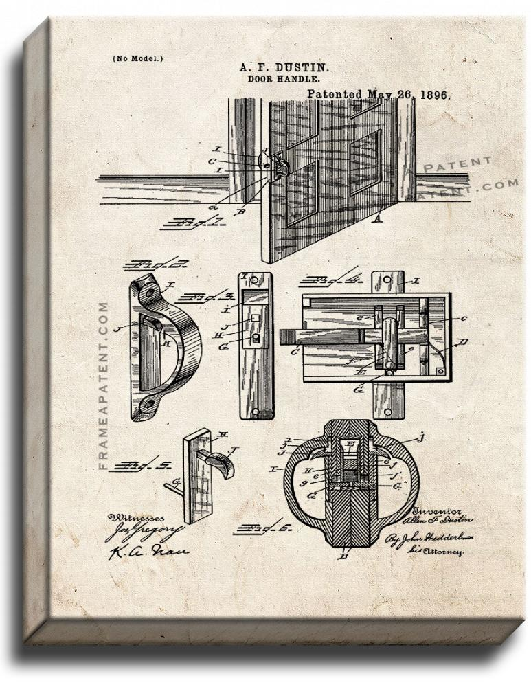 Primary image for Door Handle Patent Print Old Look on Canvas