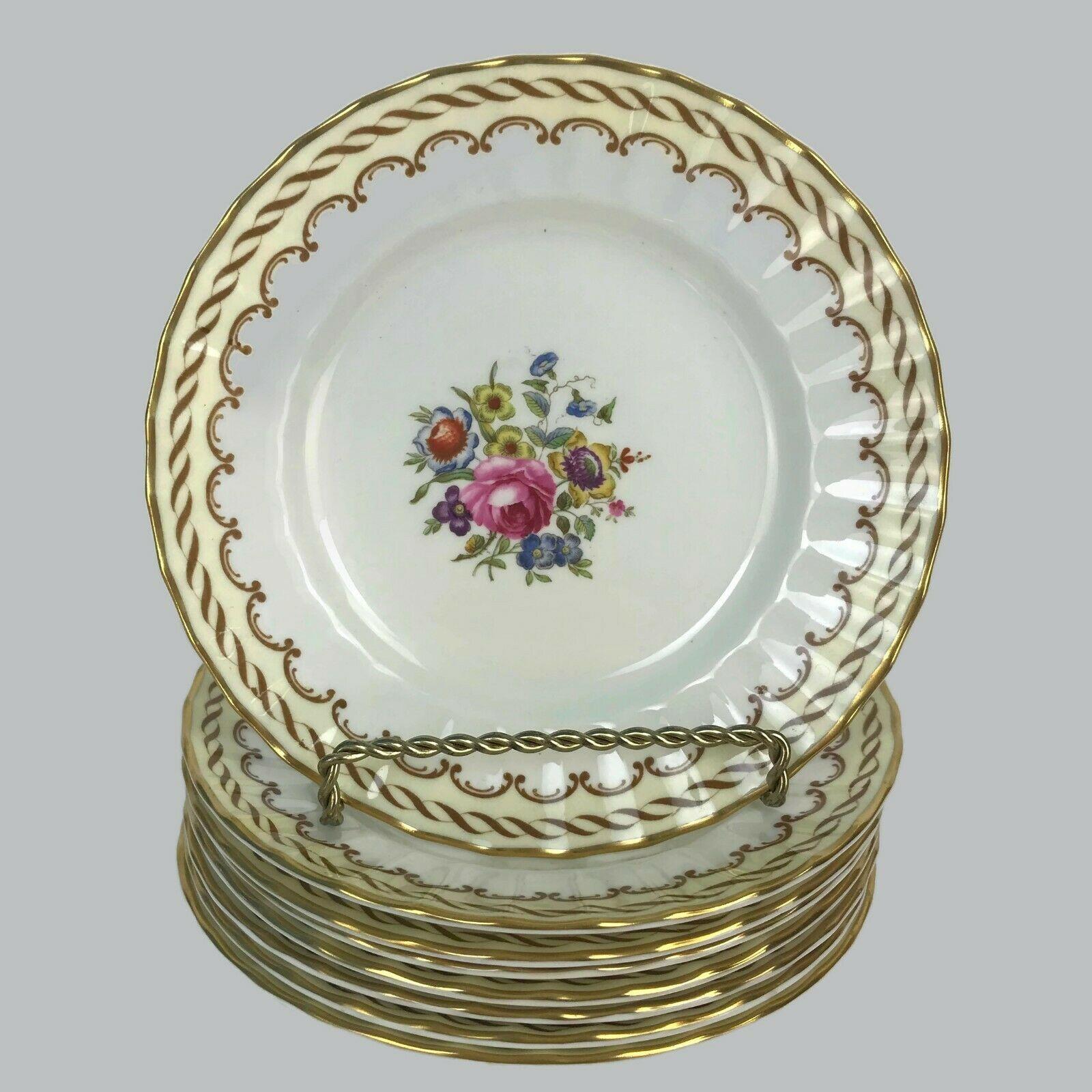 Set Of 8 Vintage Royal Worcester England Floral Center Kempsey Bread Plates U20