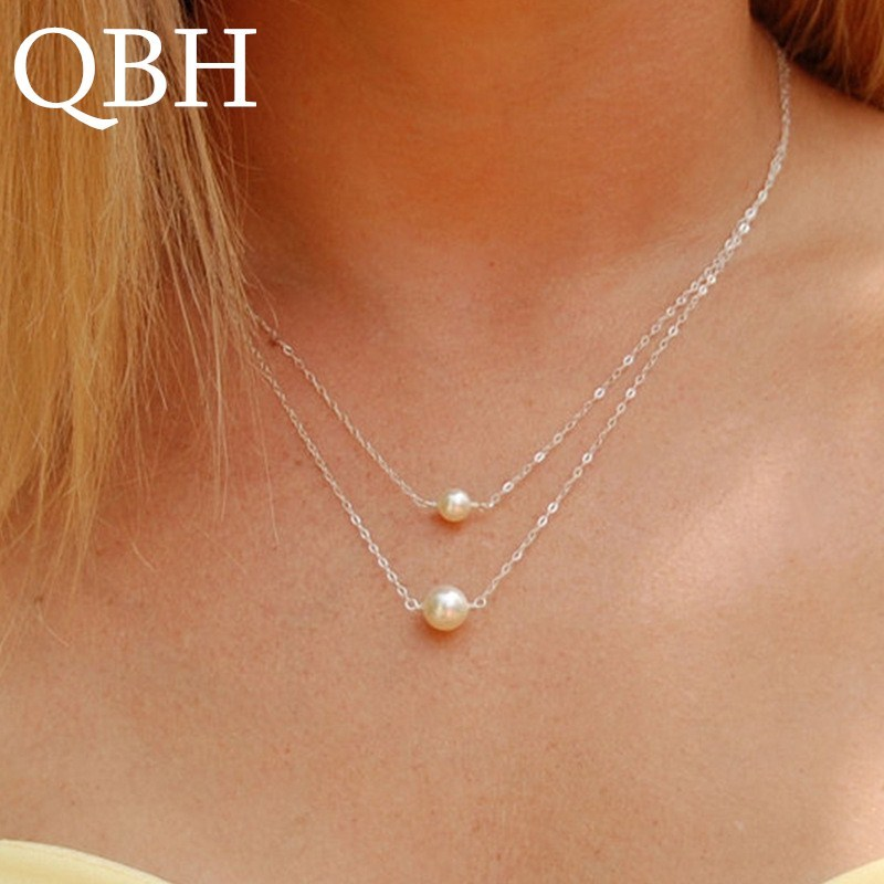 Primary image for NK1023 Hot Sale Fashion Sweet Double Layers imitation Pearls Ball Droplets Penda