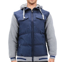 Men's Hybrid Puffer Lightweight Utility Insulated Hooded Quilted Zipper Jacket image 5
