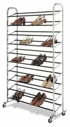 NEW Closet Shoe Storage Rack 50 Pair Organizer Save Space Standing Shelf Chrome