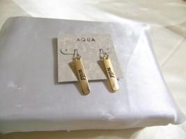 "Aqua 1-3/4"" Gold Tone Linear Drop Earrings E840 $20 - $7.67"