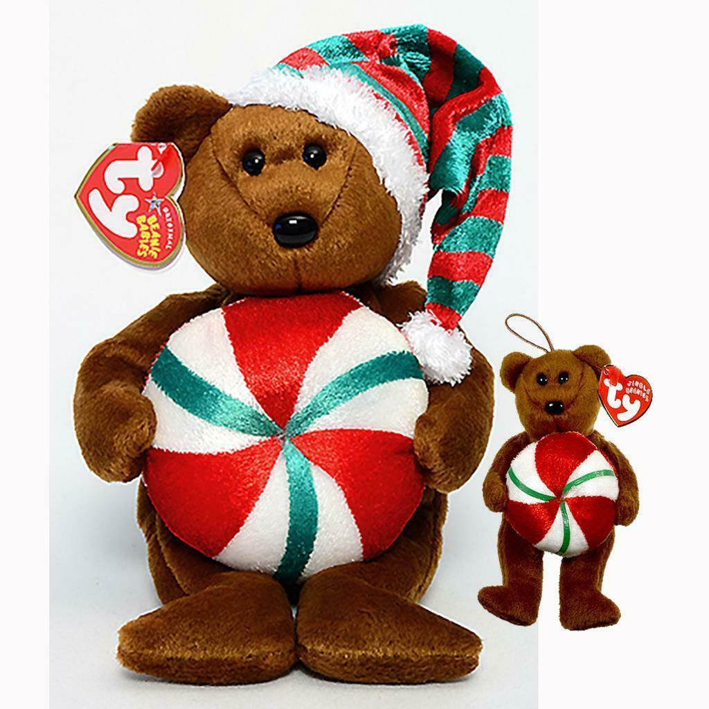 Yummy the Xmas Bear with Peppermint Ty Beanie Baby & Jingle Beanie 2pc Set MWMT