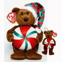 Yummy the Xmas Bear with Peppermint Ty Beanie Baby & Jingle Beanie 2pc S... - $19.75