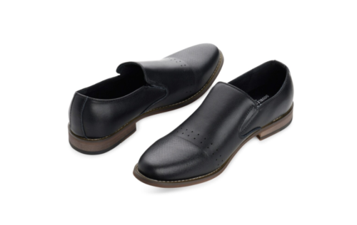 Alpine Swiss Double Diamond Mens Leather Slip-On Dress Shoes - Black - Size 14