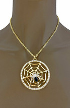 Spider on Web Medallion With Rhinestone Gold Tone Pendant Necklace Earrings Set  - $15.20